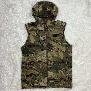 New Under Armour Rut Fleece Vest Hoodie Forest Camouflage Camo 1356288-988